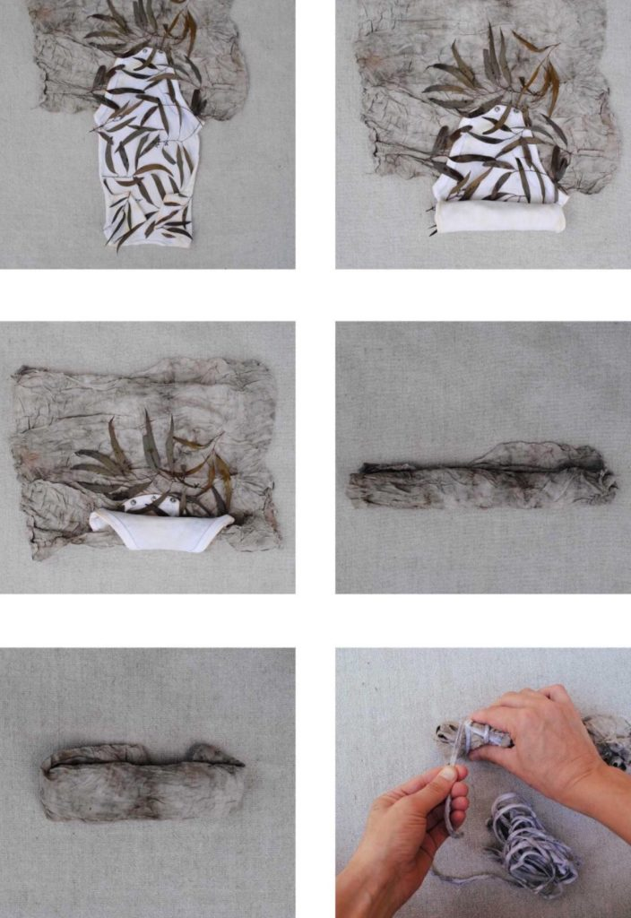 Rolling bundles for eco-printing on cotton