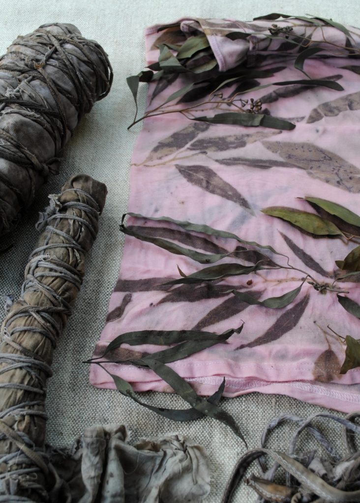Natural dyeing with eucalyptus leaves on cotton