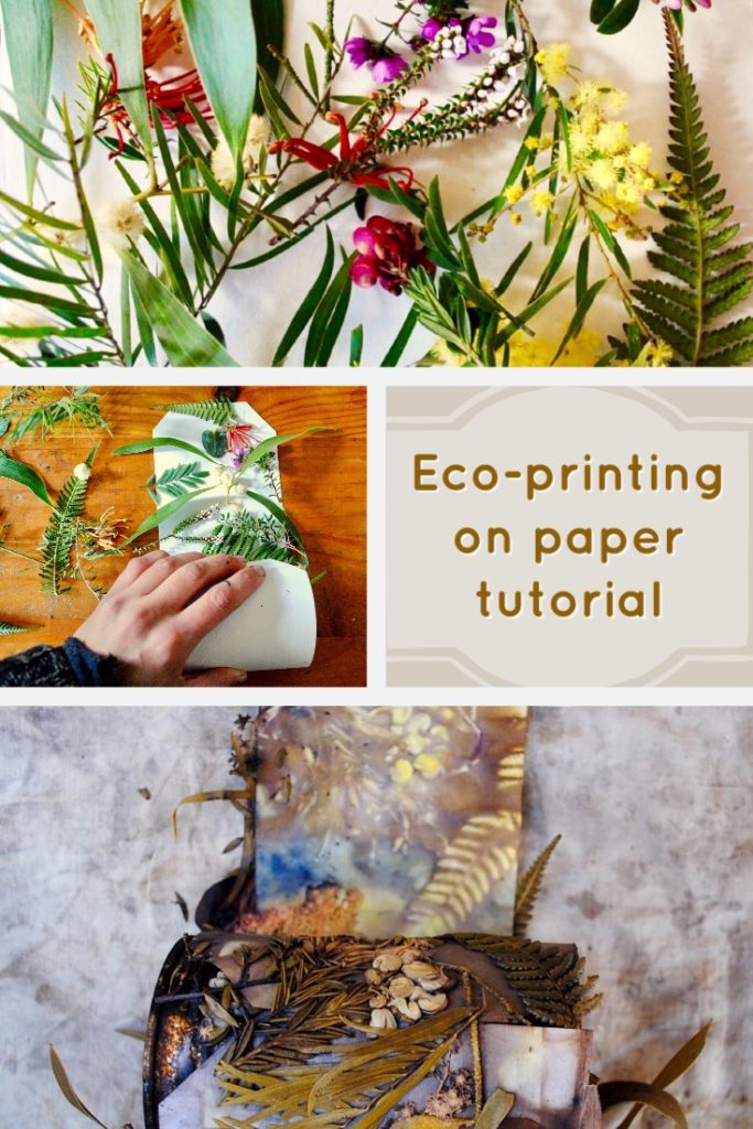 Learn how to eco-print on paper using flowers and leaves