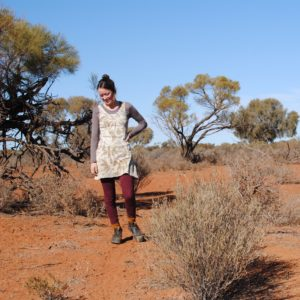 Wearing eco-printed clothing in the Australian outback