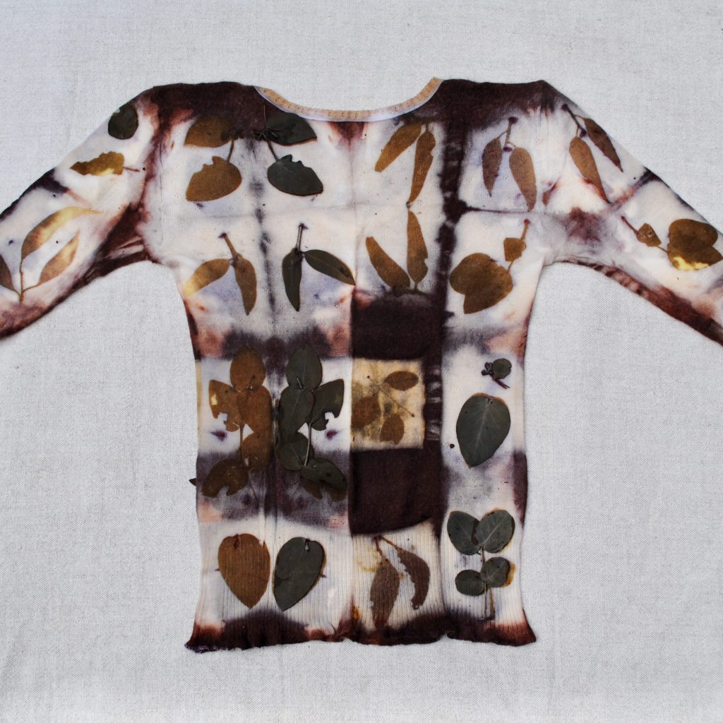 Shibori eco-prints on wool by Gumnut Magic