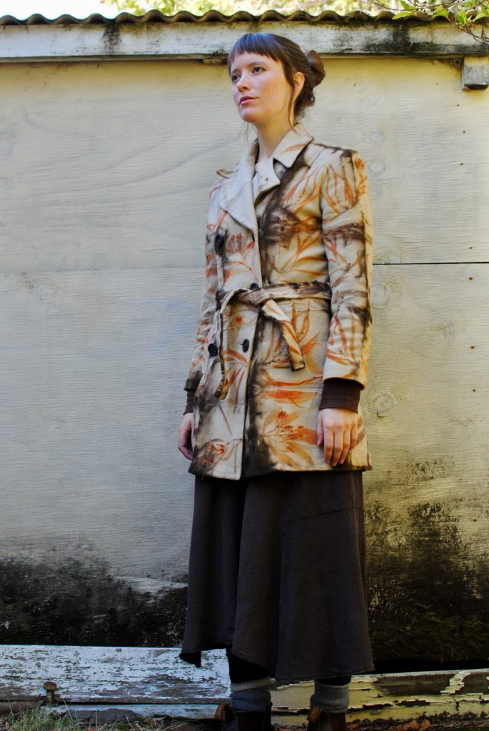 Eco-print and shibori wool jacket. Naturally dyed with eucalyptus leaves and bark.