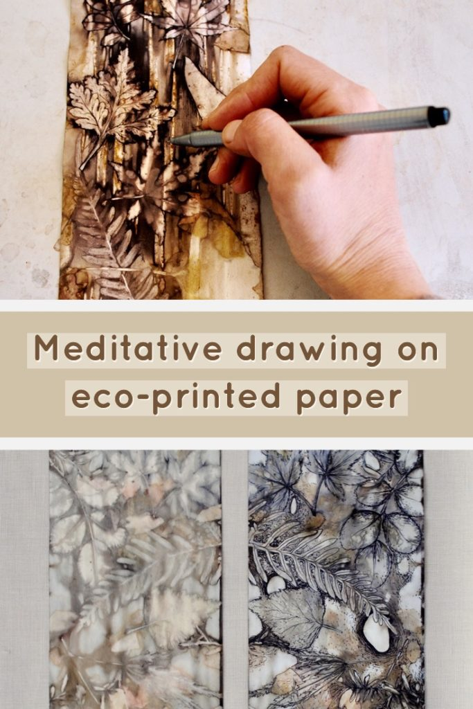 An introduction to simple line drawings over eco-printed paper