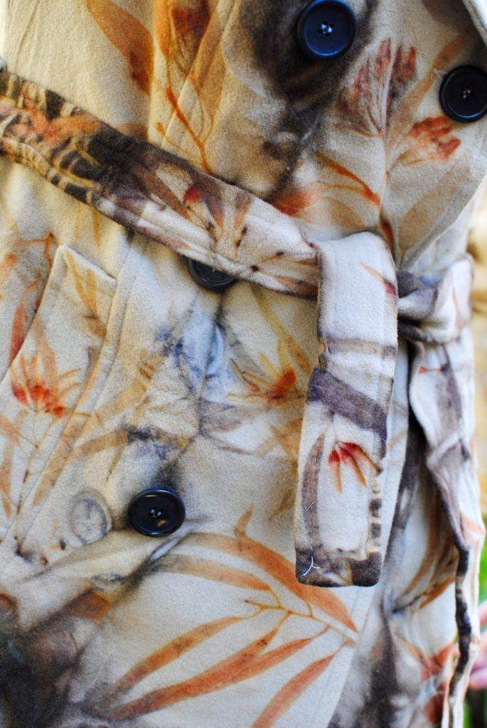Gum blossom detail on wool eco-print